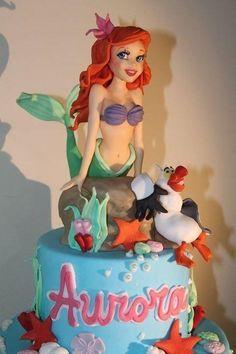Ariel - Cake by Elena Michelizzi Little Mermaid Cakes, Mermaid Birthday Cakes, Birthday Cake Girls, Bolo Fack, Ariel Cake, Ariel Ariel, Carousel Cake, Sea Cakes, Disney Cakes