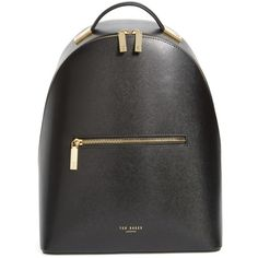 Women's Ted Baker London Mini Jarvis Leather Backpack (€235) ❤ liked on Polyvore featuring bags, backpacks, black, leather knapsack, mini rucksack, leather daypack, mini leather backpack and real leather backpack