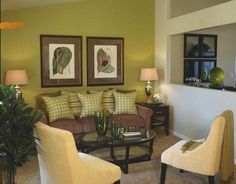 yellow brown & green living room - Google Search