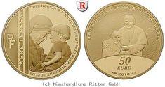 RITTER Frankreich, 50 Euro 2010, Mutter Teresa, Gold, PP #coins #numismatics