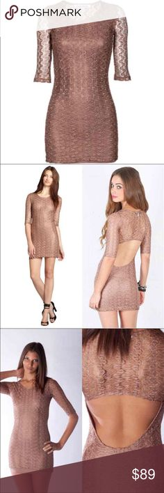 OFFER!✨Lovers+Friends Sway Shimmer Lace Dress Fashionistas and celebrities love the feminine and vintage inspired styles of the label! The lined mini dress comes in a metallic shimmering brown hue and is made of a sophisticated crochet fabric with a feminine cut-out in the back. The perfect dress for irresistible eye-catching moments! 100% polyester; lining: 65% polyester, 35% rayon. True to size. Slim fit. Decorative neckline. lace.  This same style has been seen on Kendall Jenner!  No…