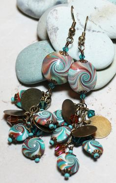 Handmade Jewelry Earrings Beaded Aqua Teal Turquoise by Fanceethat, $30.00