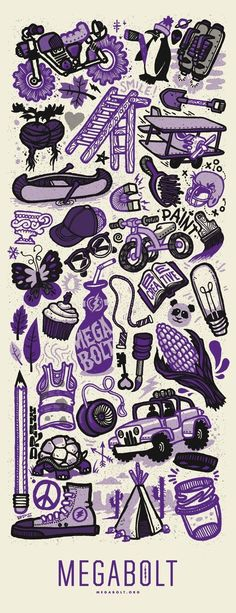"""Doodle Poster by Brett Stenson 2 color screen print on french """"butcher"""" paper"""