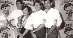 """""""Ayrton Senna posa com Rogério Martins e Ridaut Dias, criadores do personagem  Senninha , além de sua secretária, Cecília Yoshizawa """" -Fonte: http://esporte.uol.com.br/f1/ultimas-noticias/2010/11/10/criadores-de-senninha-alegam-que-nunca-receberam-por-direitos-autorais.jhtm"""