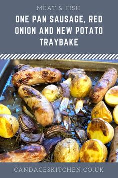 One Pan Sausage, Red Onion And New Potato Traybake - Candace's Kitchen Tray Bake Recipes, Dinner Recipes, Sausage Potatoes, Dinner Options, Kitchen Equipment, Tray Bakes, Tired, Onion, Bowls