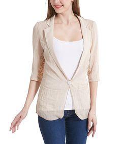 Look what I found on #zulily! Simply Couture Beige Lace-Back Blazer by Simply Couture #zulilyfinds