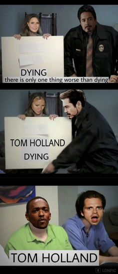 Why is this so funny? < because it combinds the Teo things er love : Tom Holland and memes Marvel Jokes, Funny Marvel Memes, Dc Memes, Avengers Memes, Marvel Dc Comics, Marvel Avengers, Funny Memes, Tom Holland, Marvel Universe