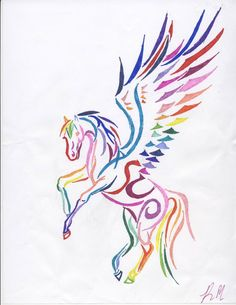 Rainbow Tribal Pegasus by DarkFriesianNight on deviantART