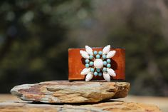 Vintage Turquoise and Milk Glass Brooch by HappyGoLuckyJewels, $124.00