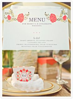 How unique is this!! It is definitely a different way of displaying the menu and table setting! | whimsical floral paper elements