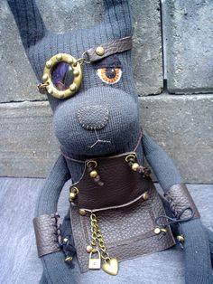 Steampunk Sock Rabbit named Captain Fernandez by fionawilk on Etsy, £22.00