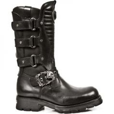 24963bc34b8 New Rock - - Black Leather Biker Boots