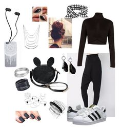 """Rocking black and white"" by superoreo90000 ❤ liked on Polyvore featuring WithChic, adidas Originals, BCBGMAXAZRIA, Avenue, MANGO, ABS by Allen Schwartz, Worthington, SCENERY, women's clothing and women's fashion"