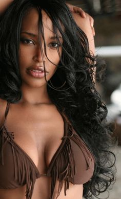 brown fringed bikini