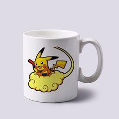 pikachu dragon ball Z pokemon manga comics mug white 11 oz two sides ceramics