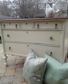 Antique painted dresser and mirror old white and walnut antique stain