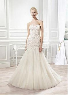 This fit and flare features corded lace throughout the sweetheart bodice, which scoops into an illusion back that is finished with buttons and loops. A subtle sparkle infuses this Moonlight bridal gown with a little extra flare. 2015 Wedding Dresses, Affordable Wedding Dresses, Luxury Wedding Dress, Wedding Dresses Plus Size, Elegant Wedding Dress, Designer Wedding Dresses, Bridal Dresses, Wedding Gowns, Bridesmaid Dresses