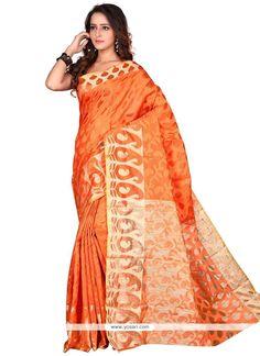 Amazing Orange Print Work Banarasi Silk Casual Saree Model: YOSAR9645