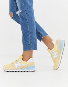 New Balance 574 Pastel trainers in yellow at ASOS. New Balance 574, New Balance Trainers, New Balance Shoes, New Balance Outfit, New Balance Women, Comfy Shoes, Cute Shoes, Me Too Shoes, Asos