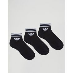 adidas Originals 3 Pack Black Ankle Socks With Trefoil Logo (£11) via Polyvore featuring intimates, hosiery, socks, black, short socks, logo socks, tennis socks, adidas socks and ankle socks