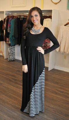 Dottie Couture Boutique - Striped Scoop Maxi- Black, $52.00 (http://www.dottiecouture.com/striped-scoop-maxi-black/)