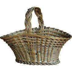 Antique English SMALL Wicker Posy / Flower Basket