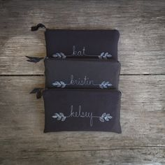 black wedding clutches set of 3 personalized by mamableudesigns, $126.00