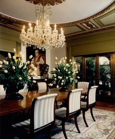Luxurious opulence is reflected in this dining room with its gold leaf custom moldings. The crystal chandelier guides you into the room while the plush creams of the fabrics and carpet softens the glossy finishes throughout. - Amazing Homes Interior Luxury Dining Room, Elegant Dining Room, Beautiful Dining Rooms, Dining Room Design, Beautiful Homes, Dining Decor, Dining Table, Country Interior, Decoration