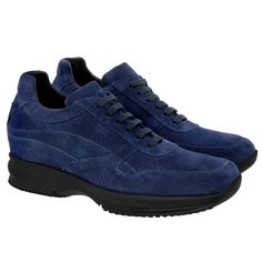 Elevator Sneakers - Upper in blue navy suede calf leather, insole in genuine leather, 2 pairs of cotton shoe laces. Hand Made in Italy.