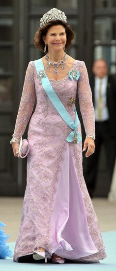 Queen Silvia of Sweden at her daughter, Crown Princess Victoria royal wedding 2010