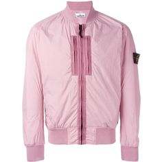 Stone Island pocket detail bomber jacket ($513) ❤ liked on Polyvore featuring men's fashion, men's clothing, men's outerwear, men's jackets, pink, mens pink jacket and mens four pocket jacket