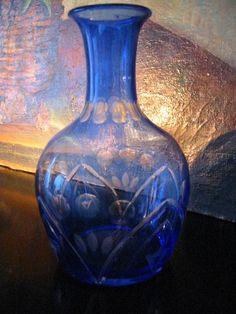 Cobalt Blue Etched Flowers Art Deco Glass Decanter Bud Vase – Designer Unique Finds