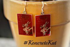 Alice in Wonderland Book Earrings by KoncreteKat on Etsy