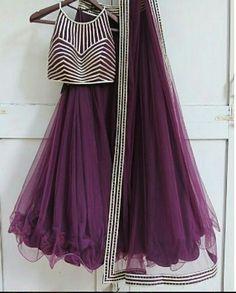 Purple net with lace detailing lehenga Choli Indian Wedding Wear Choli Designs, Lehenga Designs, Saree Blouse Designs, Pakistani Dresses, Indian Dresses, Indian Outfits, Indian Lehenga, Indian Designer Outfits, Designer Dresses