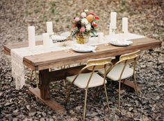 Wooden table, gold chairs, macrame table runner | Caitlin B Photography