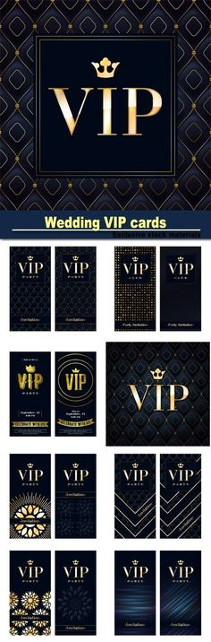 Wedding VIP cards vector backgrounds