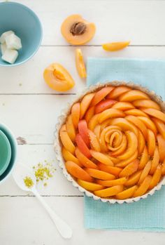 apricot tart. beautifully arranged!