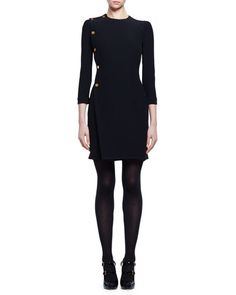 ALEXANDER MCQUEEN 3/4-Sleeve Golden-Button Dress, Black. #alexandermcqueen #cloth #