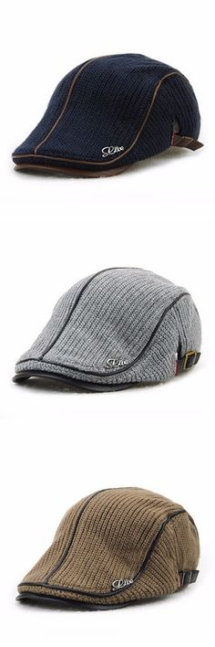 1934c37f28e  9.88 Six Colors Men Wool Knitting Beret Caps Newsboy Buckle Adjustable  Casual Outdoors Peaked Hat Mens