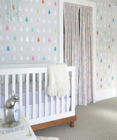 21 Colorful Wallpapers to Brighten Any Room | Brit + Co  Love the rain drops for a kids bathroom.
