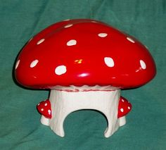 Hand Crafted Ceramic Mushroom Toad House Red and White Spots Gnome Fairy Garden   eBay