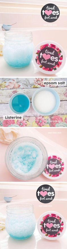 How to make an exfoliating foot scrub using Listerine! Exfoliates, removes foot odor, and leaves your feet tingly and refreshed.