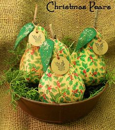 Set of 3 Primitive Grubby Christmas Pears Bowl by harvestmoonprims, $14.99