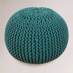 knitted poof—teal