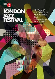 London Jazz Festival 2009 poster by London-based studio IWANT Design Graphic Design Layouts, Graphic Design Posters, Graphic Design Typography, Graphic Design Illustration, Graphic Design Inspiration, Design Art, Print Design, Jazz Poster, Poster Art