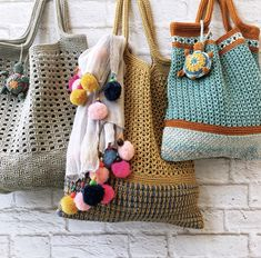 Made of cotton yarn Diy Crochet And Knitting, Crochet Tote, Crochet Handbags, Love Crochet, Easy Crochet, Crochet Designs, Market Bag, Tote Bag, Bag Patterns