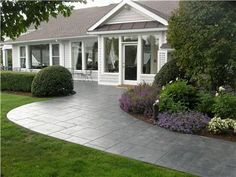 Stamped Front Walkway Concrete Walkways Designs in Concrete, LLC Old Greenwich, CT (Concrete Patio Step) Front Walkway, Front Yard Landscaping, Backyard Patio, Front Steps, Landscaping Ideas, Front Porch, Front Entry, Stamped Concrete Driveway, Concrete Driveways