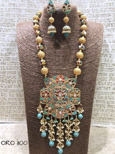Beads and Meenakari pendant. Royal look from Rajasthan . Comes with matching earrings. India Jewelry, Gold Jewelry, Jewelery, Gold Necklaces, Gold Pendent, Pendant, Beautiful Flower Designs, Indian Designer Wear, Wedding Jewelry