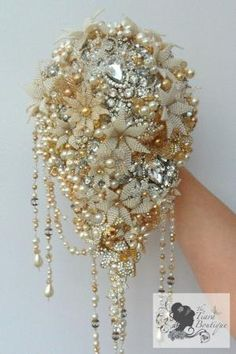 Vintage inspired, 1920's Hollywood Glamour beaded flower, pearl & brooch bridal bouquet. by virgie
