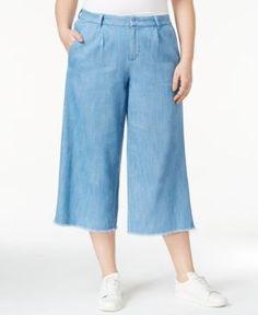 df0f9e49f83 Rachel Rachel Roy Trendy Plus Size Fringe-Trim Gaucho Jeans - Blue 20W Rachel  Roy